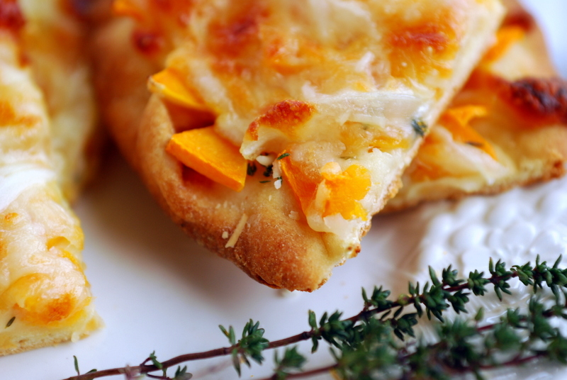butternut flatbread pizza with thyme