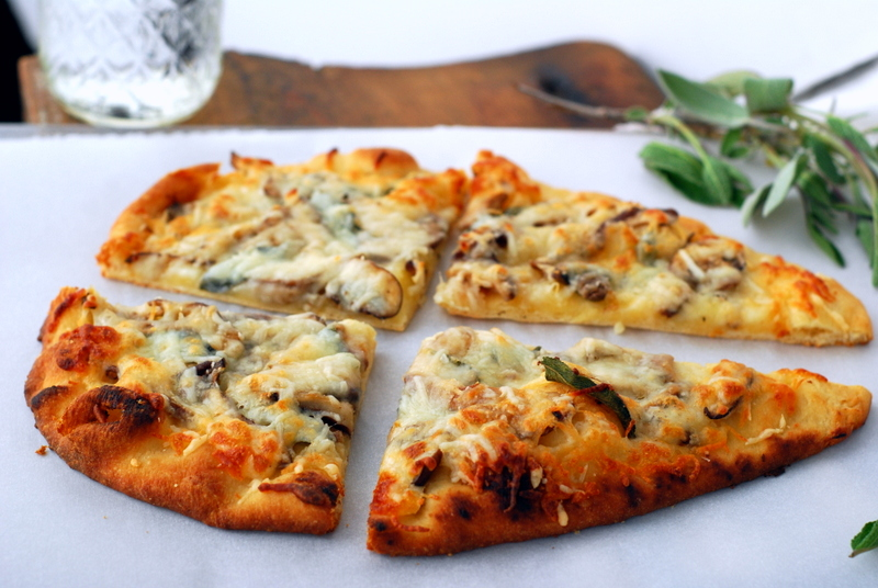 mushroom pizza with sage